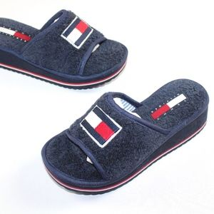 Vtg New Tommy Hilfiger Spell Out Sandals Slippers